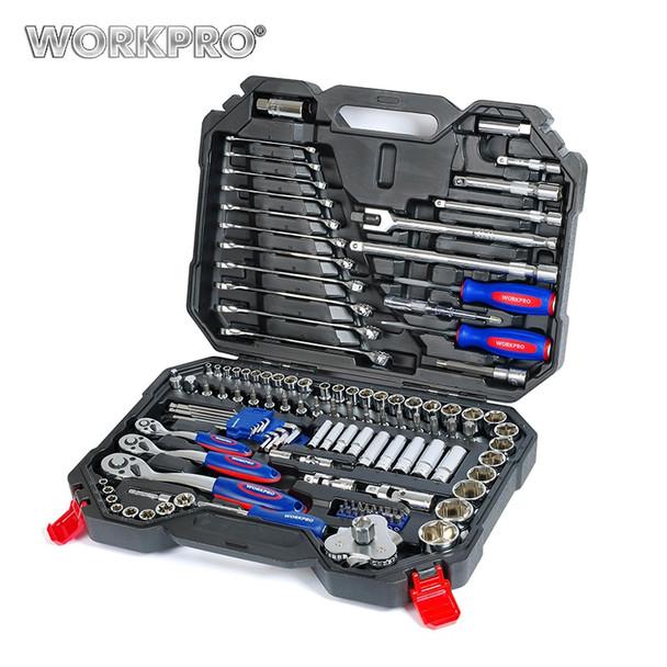 WORKPRO 123PC Tool Set Hand Tools for Car Repair Ratchet Spanner Wrench  Socket Set Professional Car Repair Tool Kits