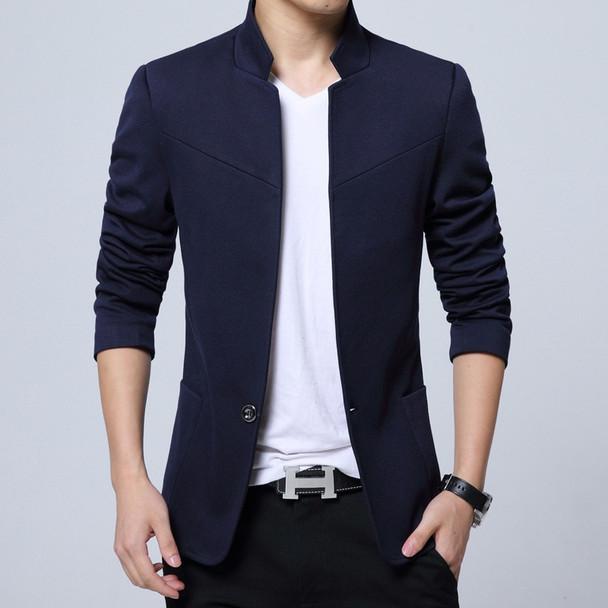 Men Clothes 2018 England Style Cotton 5XL Blazer Mandarin Collar Americana Hombre Blazers Men Suits Silm Fit Casual Blazer Homme