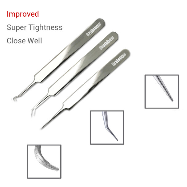 Brainbow 3pc/Pack Blackhead Tweezers Blackhead&Blemish Removers Point Bend Gib Head Comedone Acne Extractor Face Skin Care Tools