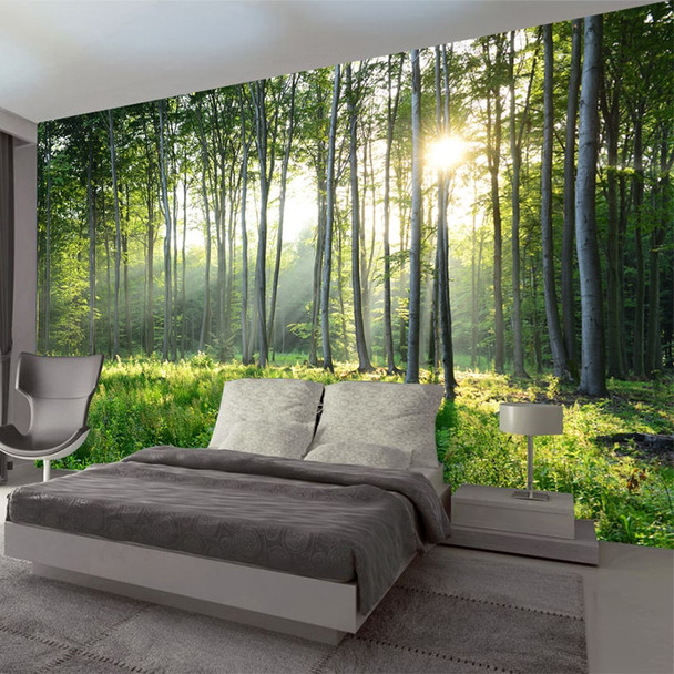 Foresthills Bedroom Large2: Custom Photo Wallpaper 3D Green Forest Nature Scenery