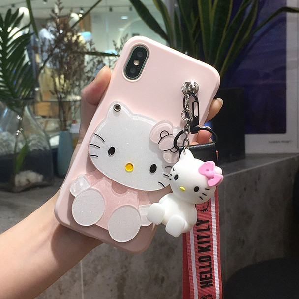 For iphone X /8 plus kitty Case for iphone 7 plus Cartoon HelloKitty mirror Soft Phone Case For iphone 6 6s plus toy stand Strap
