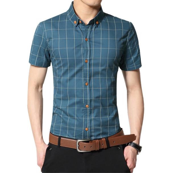 Fashion Brand Clothing Mens Short Sleeve Shirt 2018 Summer New Plaid Slim Fit Shirt CottonCasual Shirt Men 100% Clothes M-5XL