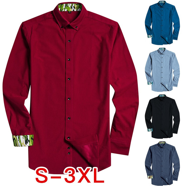 Autumn New Men's Long-Sleeved Shirt Corduroy Casual Dress Shirt Fashion Stitching Brand Solid Slim Fit Male Clothes 2018 XXXL