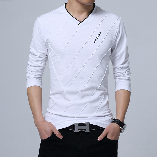BROWON 2018 Fashion Men T-shirt Slim Fit Custom T-shirt Crease Design Long Stylish Luxury V Neck Fitness T-shirt Tee Shirt Homme Imported
