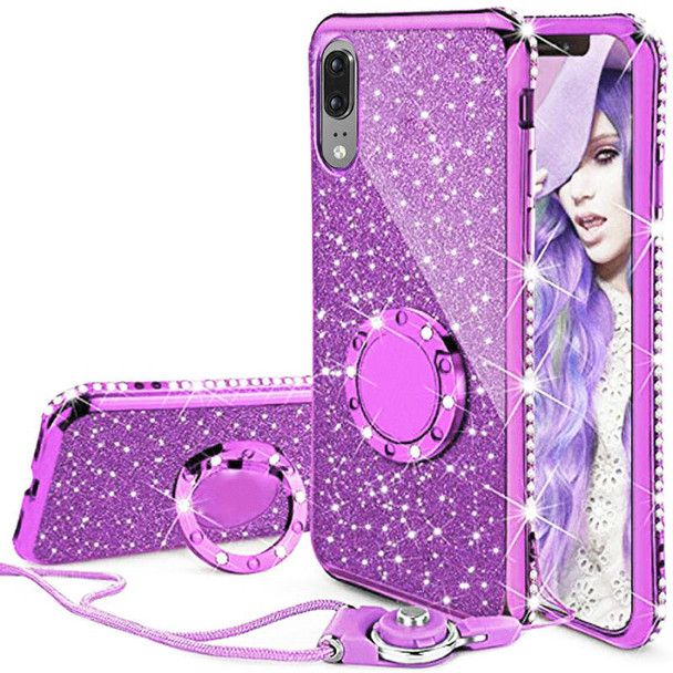 For iphone 6 6s 7 8 X Xs Max Case Glitter Diamond Cover For Samsung S9 S8 S7 Ring&Lanyard Case For Huawei Mate 10 Lite P20 Lite