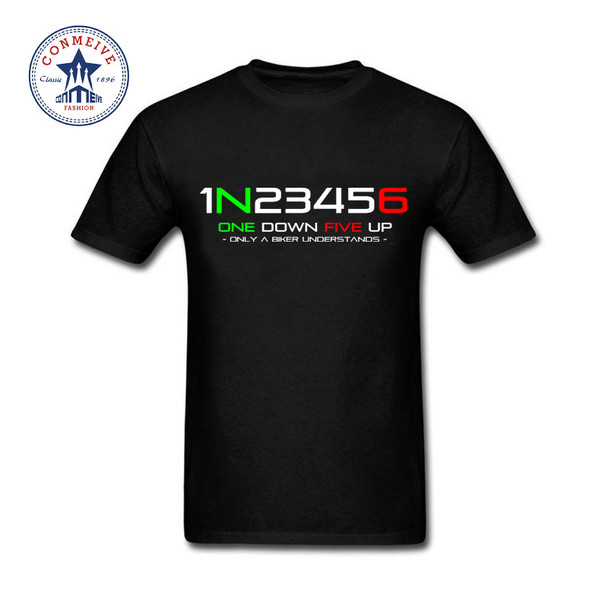 2017 Funny Hip Hop Printed Funny 1N23456 Motorcycle Cotton Funny T Shirt for men
