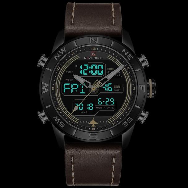 NAVIFORCE Luxury Brand Leather Army Military Watch Men's Fahison Sport  Watches Men Quartz Analog Digital Clock Relogio Masculino