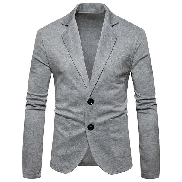 men jacket Blazer masculino 2018 autumn new Men suit coat knit shirt men's two button solid color small suit blazers Europe size