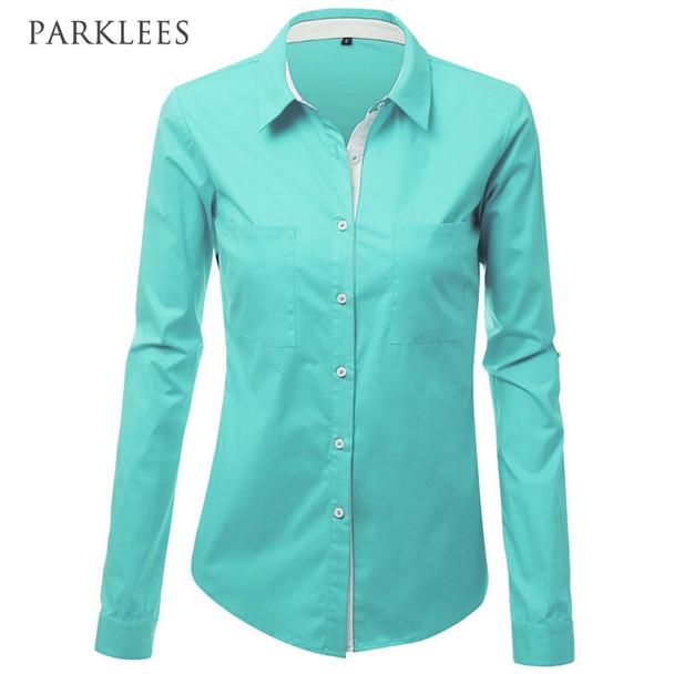 Long Sleeve Shirt Women 2017 Spring New Business Elegant Women Shirt Casual Office Lady White Blouse Shirts Women Plus Size Blue