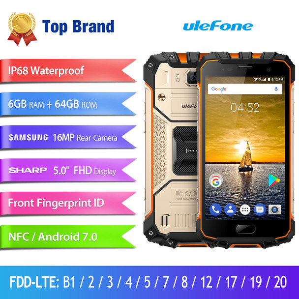 Ulefone Armor 2 Waterproof IP68 Smartphone 5.0 inch FHD MTK6757 Octa Core Android 7.0 6GB RAM 64GB ROM 16MP 4G Global Version