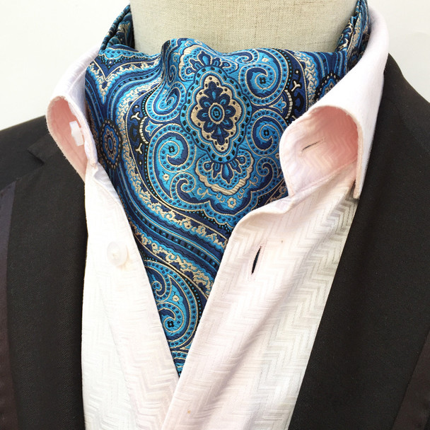 High Quality Men Ascot Neck Tie Vintage Paisley Floral Jacquard Silk Necktie Cravat Tie Scrunch Self British Style Gentleman