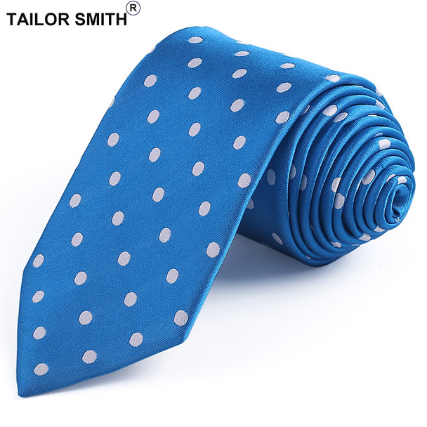 Tailor Smith Luxury Silk Polka Dot Necktie Pure Natural Silk Jacquard Tie Classic Office Business Wedding DressSuit Cravat