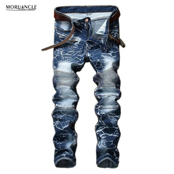 MORUANCLE Brand Designer Men's Biker Jeans Vintage Washed Motorcycle Denim Trousers Pants Straight Plus Size 28-42