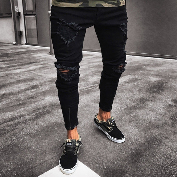 2018 supper skinny hip hop jeans men ripped holes slim pants Homme Trousers New Arrived Fashion Ankle Zipper Skinny Jeans denim