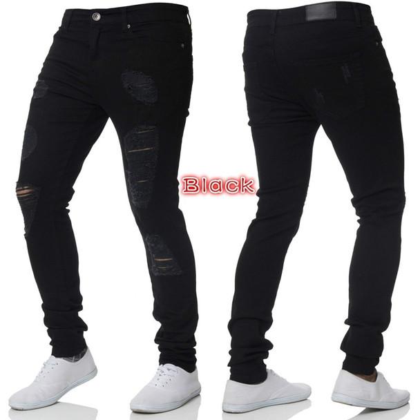 Fashion Streetwear Solid Color Men Jeans Skinny Fit Ripped Jeans Men Stretch Destroy Punk Pants Elastic Hip Hop Jeans Broken