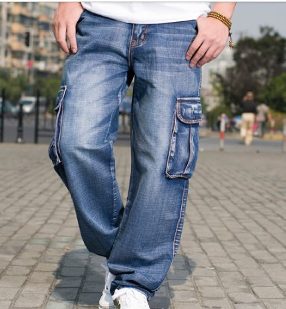 c08b331b Mens Multi Pocket Wide Leg Loose Cargo Jeans For Men Hip Hop Baggy Jeans  Homme Men's ...