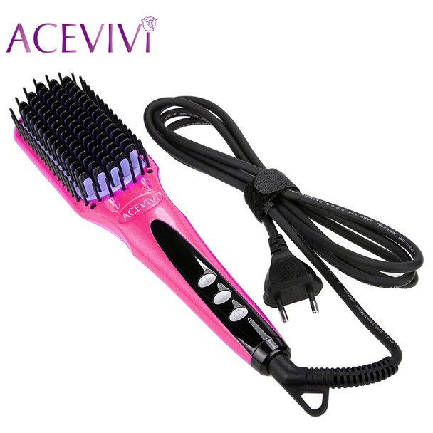 ACEVIVI Digital Electric Hair Straightener Brush Comb Detangling Straightening Irons Hair Brush EU/ US/ UK Plug