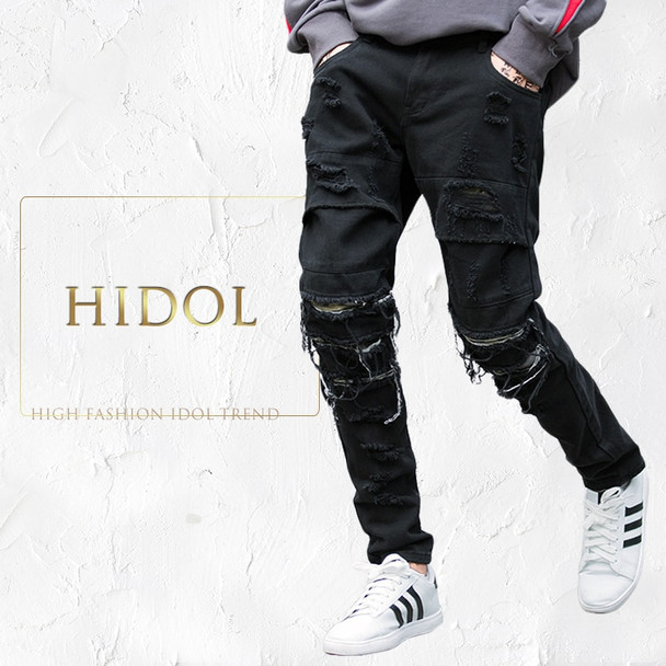 Ripped Zipper Holes Tassel Biker Punk Jeans Men Rock Hip Hop Designer Pants Brand Kanye West Black Pleated Denim Skinny Trousers