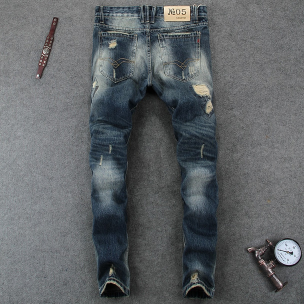 Italian Style Fashion Mens Jeans High Quality Slim Fit Frayed Hole Ripped Jeans For Men Brand Clothing Denim Biker Jeans Pants