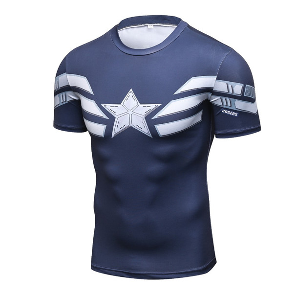 Mens Fitness 3D Prints Captain America T Shirt Men Bodybuilding Skin Tight Thermal Compression Shirts MMA Crossfit Workout Top