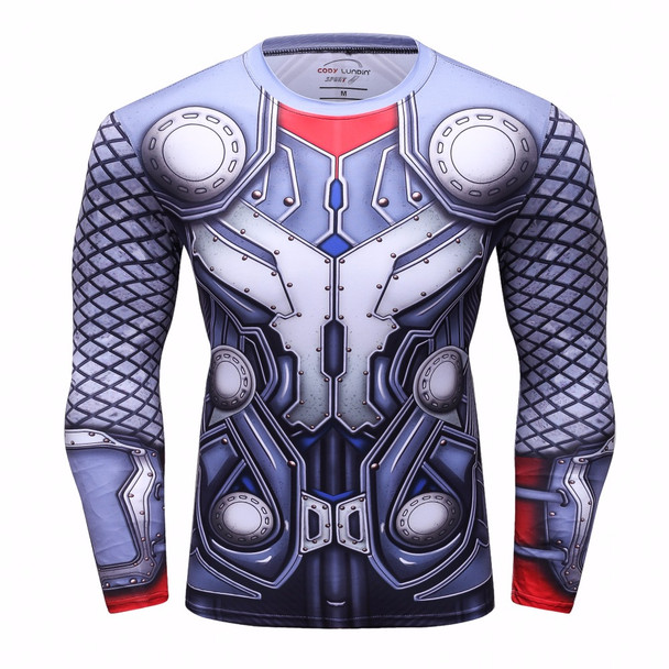 Men Crossfit Long Sleeve Shirt Compression 3D Anime Superhero Superman Captain America T-shirt Tights Fitness Men Tops & Tees