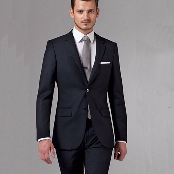 Black Business Men Suits Custom Made, Bespoke Classic Black Wedding Suits For Men, Tailor Made Groom Suit  WOOL Tuxedos For Men