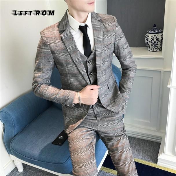 (Jacket+Vest+Pants) Plaid Mens Wedding Suit Male Blazers Slim Fit Suits for Men Costume Business Formal Party Classic Gray/Navy