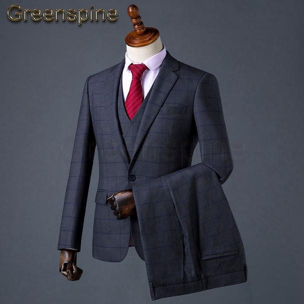 Mens Suits Wedding Groom Plus Size 3 Pieces(Jacket+Vest+Pant) Slim Fit Casual Tuxedo Suit Male 2018 Famous Brand ZM566