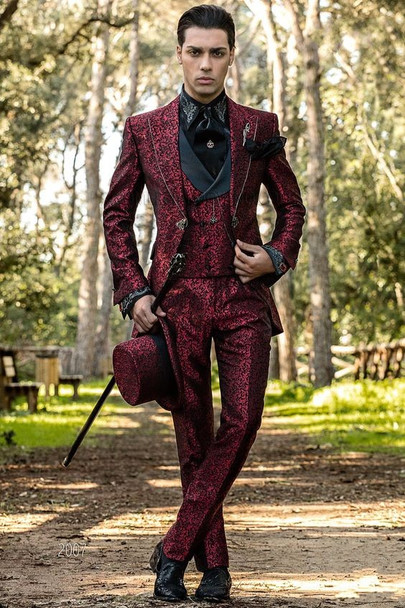 New Jacquard Italian Mens Suits With Pants Burgundy Floral Wedding Suits For Men Slim Fit 3 Piece Costume Homme Mariage Suit