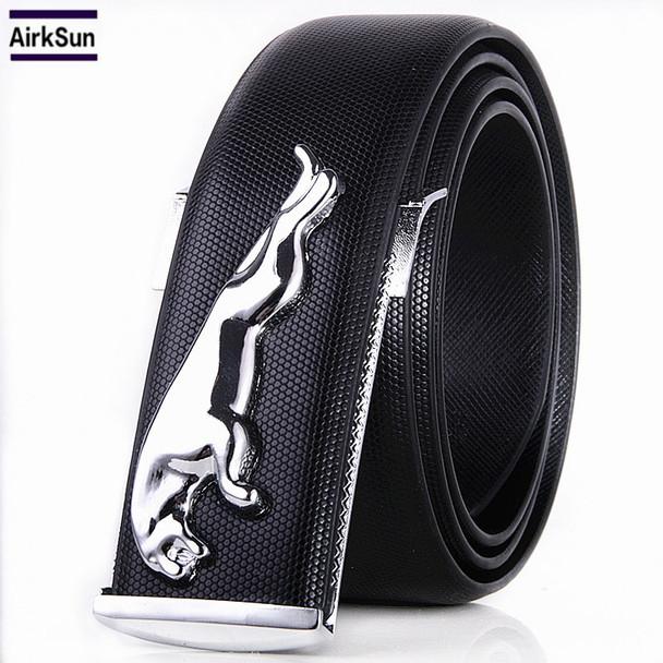 2017 Famous Brand Designer High Quality Genuine Leather Pin Buckles Jaguar Mens Belts Wide Luxury Male Cowskin Belt Unisex