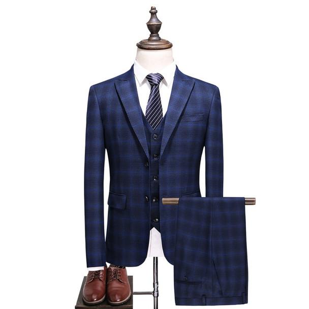(Jacket+Vest+Pants) 2018 spring Men Suits Fashion Casual stripe Men's Slim Fit business wedding Suit men Wedding suit XF032