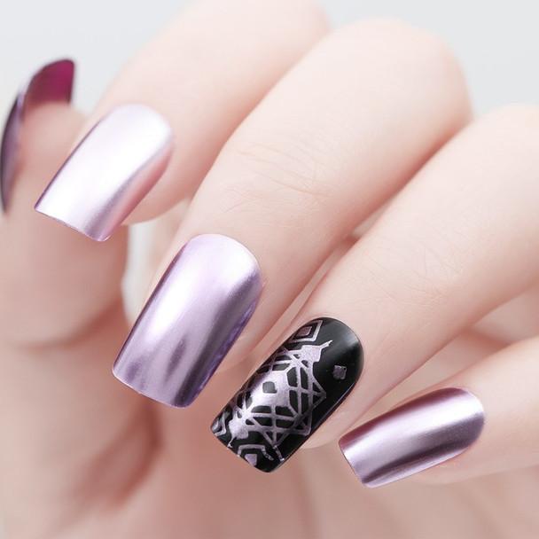 BORN PRETTY 9ml Mirror Effect Metallic Nail Polish Purple Rose Gold Silver for Stamping Chrome Manicure Nail Art Varnish