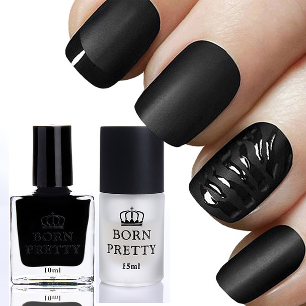 BORN PRETTY 10ml Gloss Black Nail Polish & 15ml Matte Surface Top Coat Set Manicure Nail Art Tips Color Kit