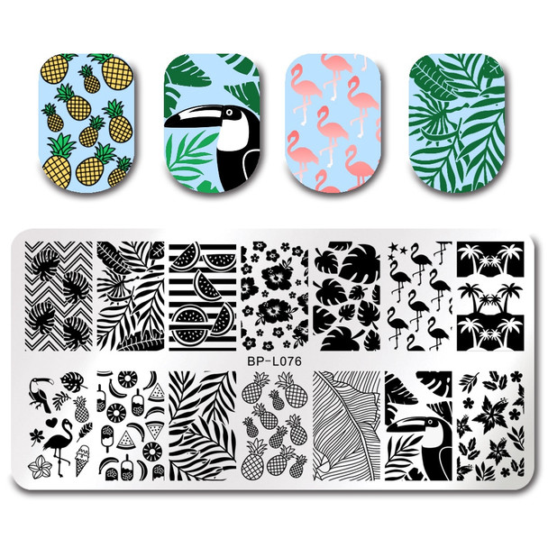 BORN PRETTY 8Pcs Nail Art Set Spring Leaf Nail Stamping Plates Image Template Stamp Stamping Polish with Clear Stamper Scraper