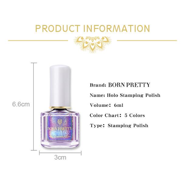 BORN PRETTY Holographic Nail Stamping Polish 6ml Holo Laser Nail Art Printing Varnish For Nail Stamping Plate Image Print