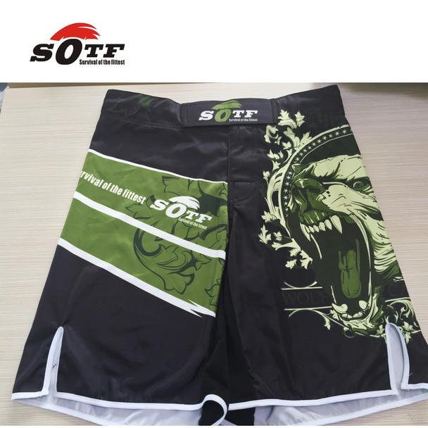 SOFT Green Bear Fitness breathable mma fighting workout shorts Tiger muay thai boxing shorts kickboxing shorts pretorian yokkao