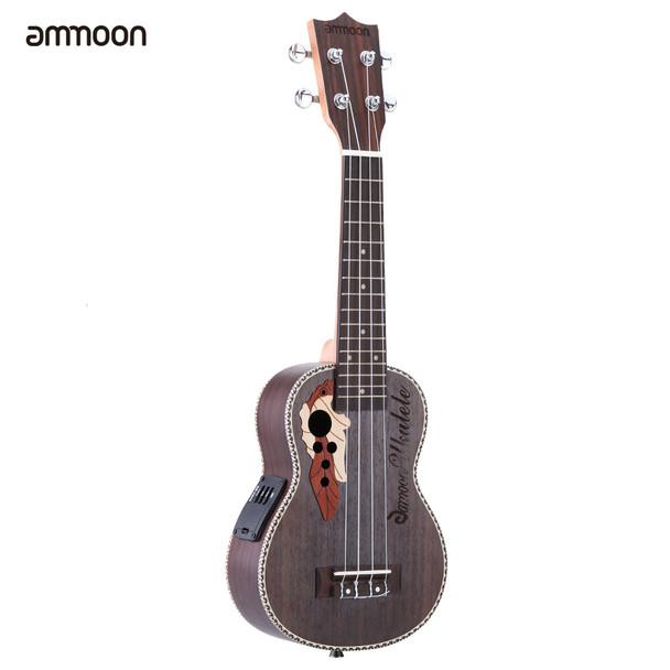 """ammoon Ukulele 21"""" Acoustic Ukelele  Spruce Ukulele  4 Strings Guitar Guitarra with Built-in EQ Pickup Christmas Gift"""