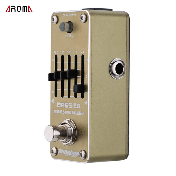 AROMA AEB-3 Guitar Effect Pedal Bass EQ Analog 5-Band Equalizer Electric Guitar Effect Pedal Mini Single Effect with True Bypas