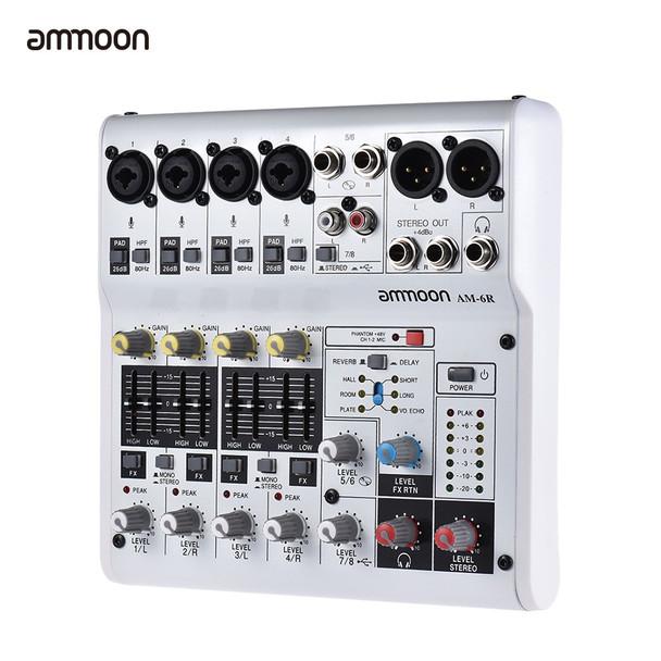 ammoon AM-4R Mixer Console 6-Channel Audio Mixing Console Sound Card Digital Mixing Console Built-in 48V Phantom Power