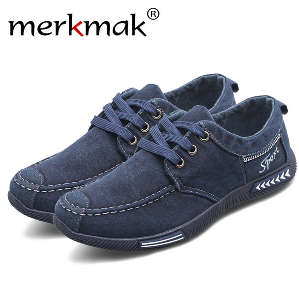 Merkmak Canvas Men Shoes Denim Lace-Up Men Casual Shoes New 2018 Plimsolls Breathable Male Footwear Spring Autumn men footwear