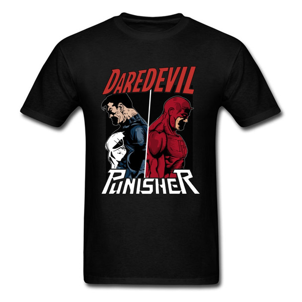 Daredevil And Punisher T Shirt Captain America Marvel T Shirts Super Heroes Cool Fashion Top T-Shirts Amazing Film Tshirt Men