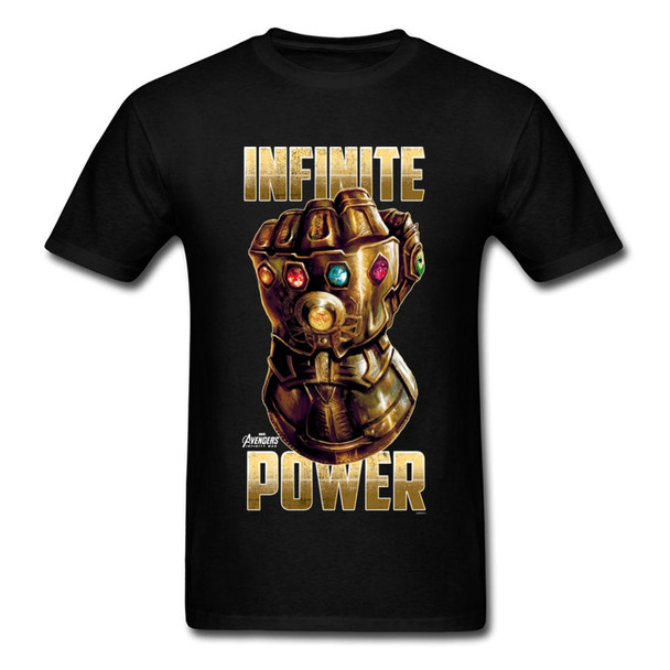 Hottest Infinite Power Tshirt Gold Thanos Gauntlets T Shirt Pure Cotton Round Neck Tees Funny Tops 2018 Newest T-Shirt Marvel