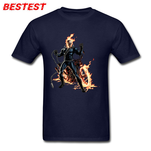 Navy Blue T-shirt Men Cool T Shirt Marvel Tshirt Avengers Alliance Streetwear Ghost Rider Tops & Tees 3D Custom Adult Clothes