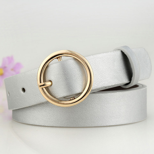 Badinka New Gold Round Metal Circle Belt Female Gold Silver Black White PU Leather Waist Belts for Women Jeans Pants Wholesale