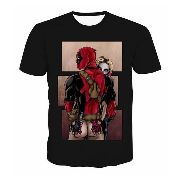 American Comic Marvel T Shirt Men Women Deadpool Suicide Squad T-Shirt Characters 3D Funny Harley Quinn Tee shirts Summer