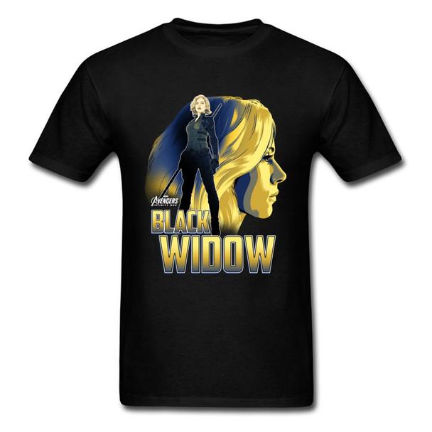Boy Tops & Tees Black Widow Profile Tshirt Lovers Day 100% Cotton T-Shirt Comfortable Short Sleeve Tee-Shirts Marvel T Shirt