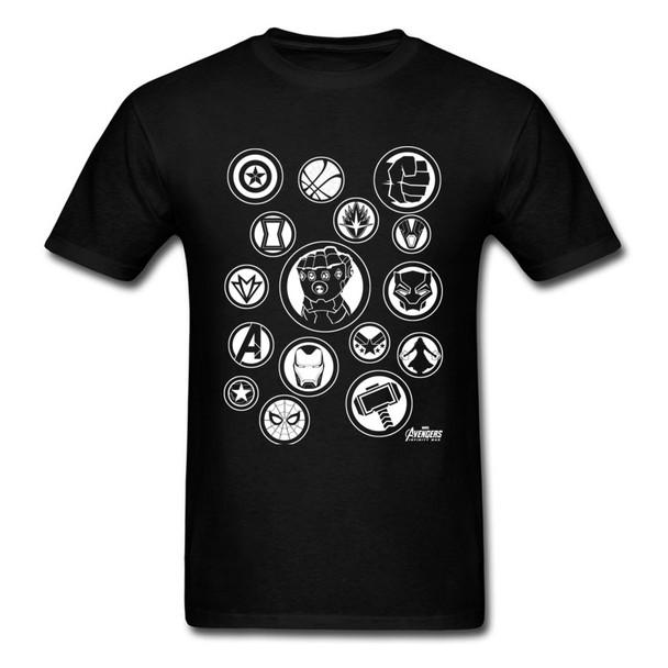 Infinity War Avengers T Shirt Marvel Powerful Tools Symbols Fight Men Black Tshirt Titan Thanos Power Stone T-Shirt Newest