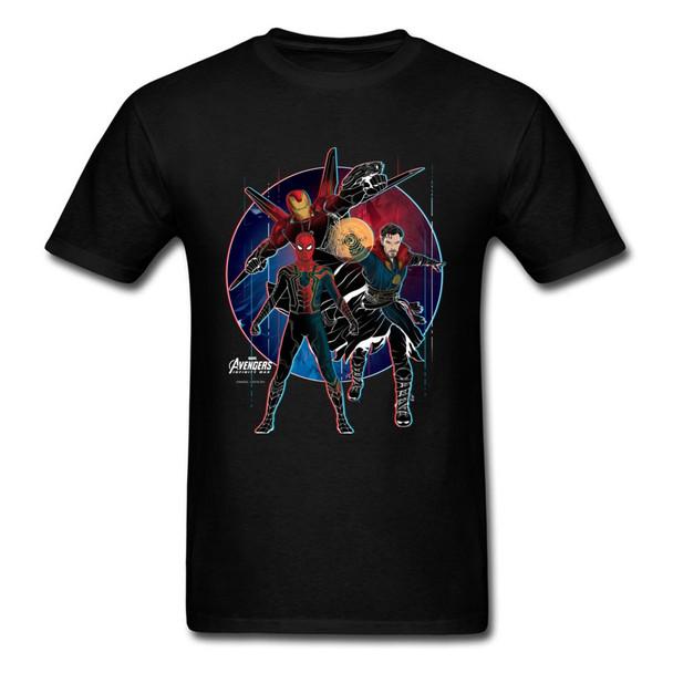 Strange Trio 2018 Mens Funny Clothing Marvel Spiderman Iron Man Printed T Shirts Vintage Comic Tee Shirt Birthday Gift