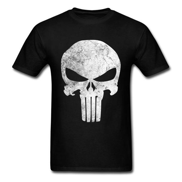 Punisher Skull T-shirt Grunge Skulls Print T Shirt Marvel Men Tshirt Vintage Art Clothes Design Hipster Tops Team Tees Cotton