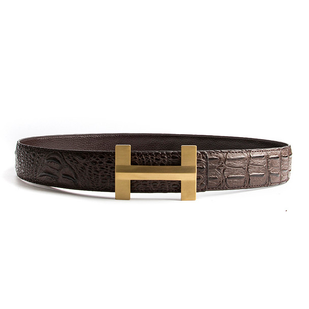 ECHAIN Solid Brass Luxury H Brand Designer Crocodile Belts Men High Quality Women Punk Genuine Real Leather Male Strap for Jeans